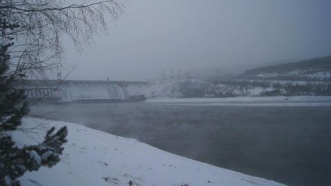 Winter Krasnoyarsk Hydropower Plant Footage