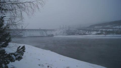 Winter Krasnoyarsk Hydropower Plant Stock Video Footage