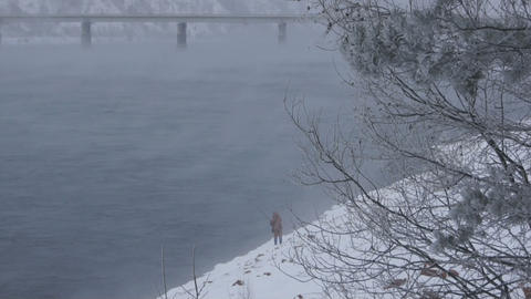 Winter Fisherman 03 Stock Video Footage