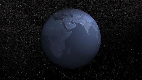 Earth rotation by night - 3D render Stock Video Footage