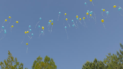 Balloons launched into the sky Footage