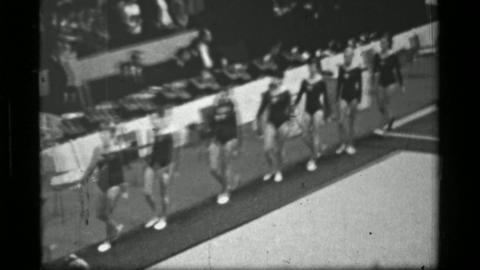1967: Athletes entering indoor arena 3rd Women's Modern Rhythmic Gymnastics Worl Live Action