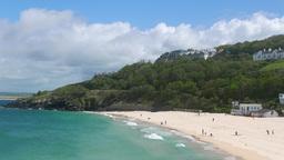 Porthminster beach with tourists Footage