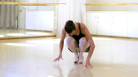 Portrait of a ballerina is preparing to dance Live Action