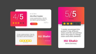 Modern Review Cards Pack Motion Graphics Template