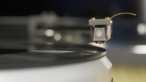 Vinyl record player. Needle headshell of turntable slow down on vinyl record Footage