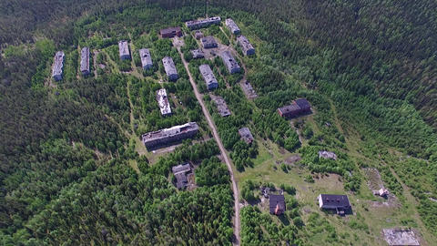Dilapidated Houses of Dead Town in Forest ビデオ