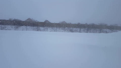 Thick Snow Blizzard. Heavy Snowfall With Dark Overcast Sky. Snowing Scene. Snowy Footage
