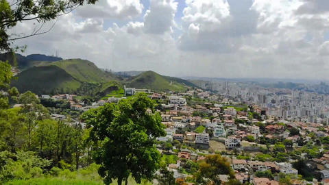Cityscape of a huge city in Brazil from a view point - Aerial View - Fast Pan Live Action