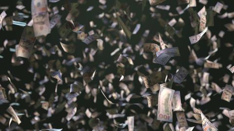 Falling one hundred dollar bills. 3D animation Footage