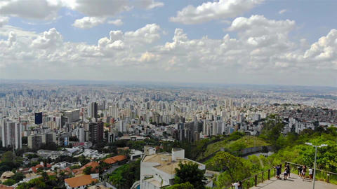 Cityscape of a huge city in Brazil from a view point - Aerial View - Left Dolly Footage