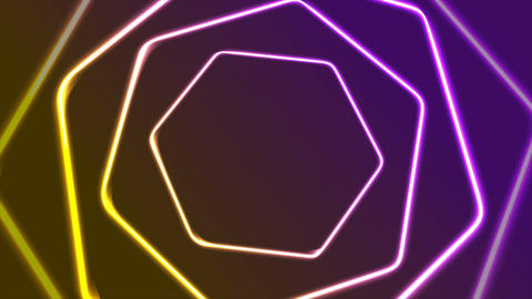 Vibrant neon retro hexagons abstract video animation Animation