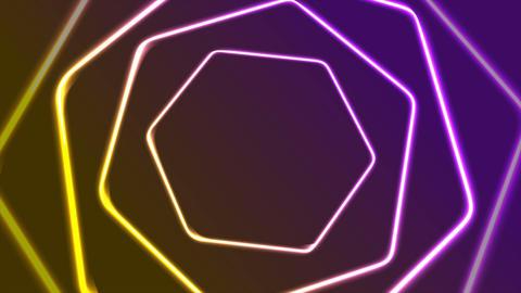 Vibrant neon retro hexagons abstract video animation Animation