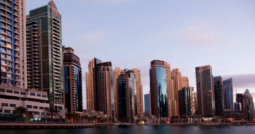 Dawn in the Dubai Marina area in United Arab Emirates. Time Lapse Footage