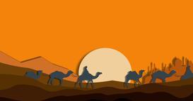 Camel caravan in the desert Animation