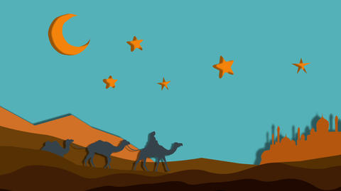 caravan of camels under the crescent night Animación