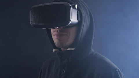 Futuristic world of global virtual reality. Close up portrait of man using Live Action