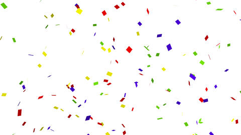 Many colorful confetti on white background for celebration event and party for Footage