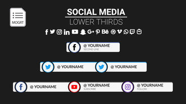 Three in a row Social Media Lower Third Motion Graphics Template
