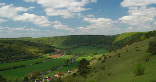 Panorama of the Altmuehltal in Germany in 4K Stock Video Footage
