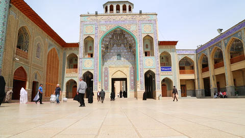 in iran and old antique mosque flower and plant persian architecture Live Action
