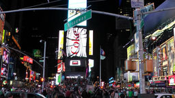 New York 300 Manhattan times square by night; Broadway and 7th Avenue Footage