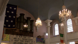 New York 332 Lower Manhattan ground zero; inside St.Paul's Chapel nave Footage