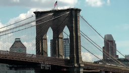 New York 351 Manhattan, Brooklyn Bridge Pillar and Steel Construction Footage