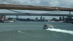 New York 364 ferryboat under east river bridges Footage