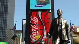 New York 201 Manhattan Times Square big screen behind famous statue Footage