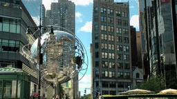 New York 268 Manhattan big globe at West 59th Street Columbus Circle Footage