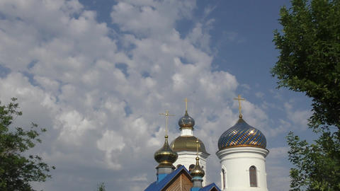 The dome of the Christian Church on the natural borders of Europe and Asia Footage