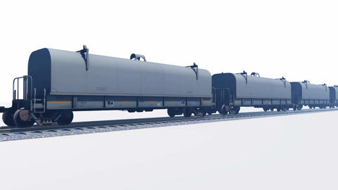 Freight train passing by on white background Animation