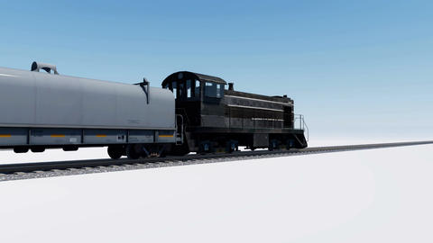 3D animation of freight cargo train with locomotive ahead passing by Animation