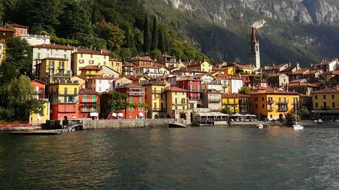 Lake Como, Varenna – Italy. Varenna village as seen by sea Footage