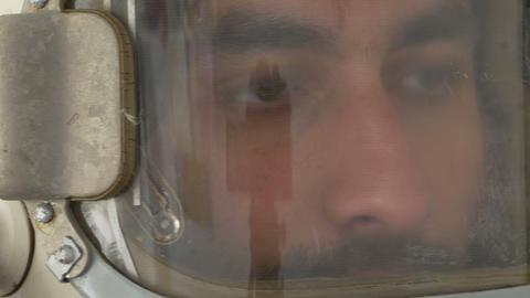 Turning Head Cosmonaut stock footage