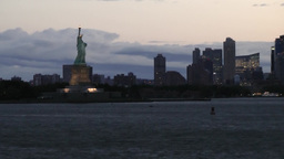 New York 155 Manhattan, arrive Hudson River early Morning, Liberty Island Footage