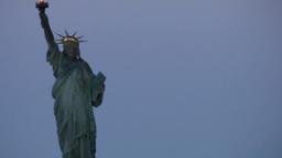New York 158 Manhattan, arrive Hudson River early Morning, Liberty Island Footage