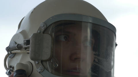 Astronaut Woman Communicating Footage
