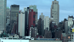 New York 174 Manhattan, Part of Skyline West Side, Hudson River Footage