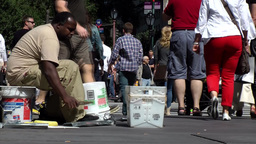 New York 192 Manhattan 5th Avenue Central Park street musician Footage