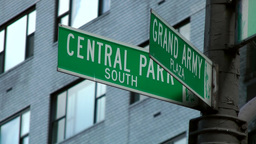 New York 193 Manhattan street signs Grand Army Plaza Central Park South Footage