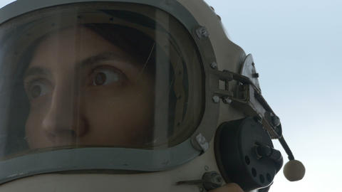 Astronaut Woman is Smiling Footage