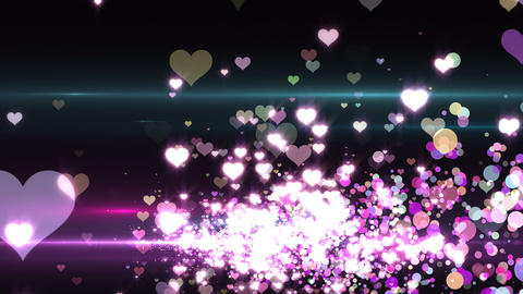Lens Flares and Particles 16 heart Q2 4k Animation
