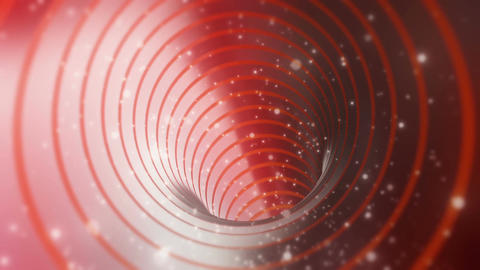 Fantastic Orange Tunnel With Particles Seamless Looping Background Animation