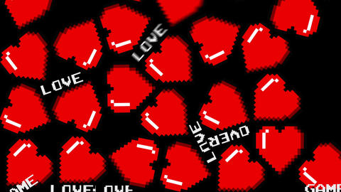 8 bits pixel bouncing hearts animation. Retro arcade video game Valentine´s Day Animation