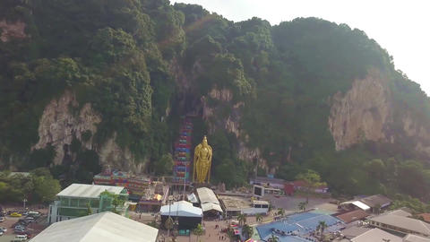 Front View of Batu Caves in Kuala Lumpur, Malaysia - Aerial - Moving Left Footage