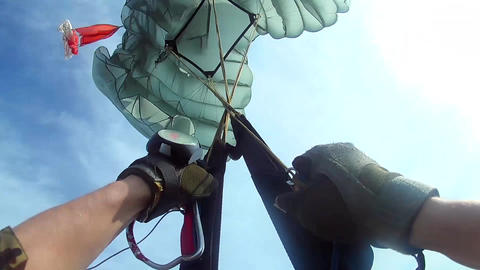 Crazy parachute opening Footage