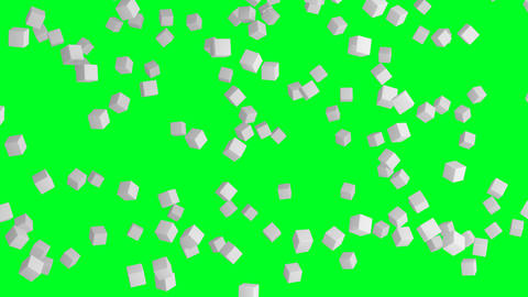 Ice cubes. Geometric shape in the air in architectural structure on green Footage