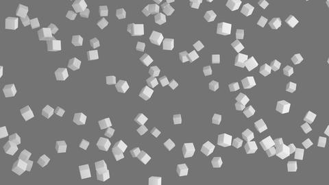 Ice cubes. Geometric shape in the air in architectural structure on grey Footage